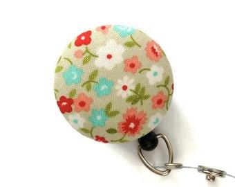 Retractable Badge Holder ID Badge Reel rRetractable Lanyard Name Badge Holder Swivel Badge Clip Nurses Key Card Holder Floral Lt.Khaki Aqua