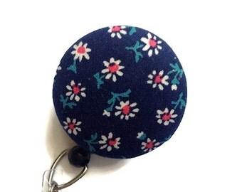 Navy Floral Badge Reel Nurse Badge Reel Retractable Badge Holder ID Badge Holder Name Badge Reel  Badge Clip  Badge Reels