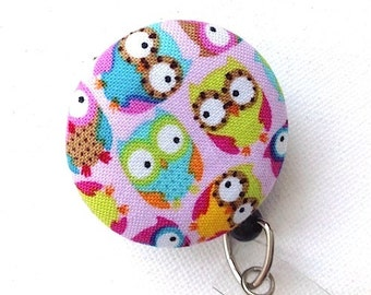 Badge Reel ID Badge Holder Retractable Badge Holder ID Badge Reel Retractable Lanyard Badge Reel Nurse Owls Pink