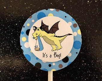 dragon stork fairy tale little prince princess baby shower cupcake cake toppers for girl, boy or either - can be personalized - set of 12