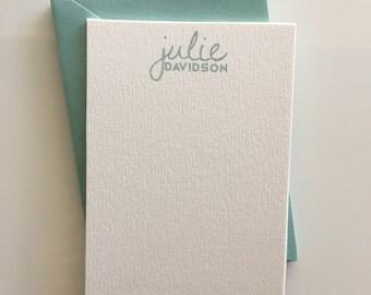 Personalized Note Cards, Note Cards, Personalized Stationery Set, Stacked Name Stationery