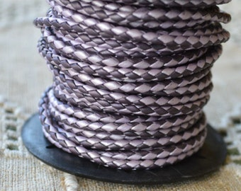 SALE 4 meter of 3mm Chadhi Berry Purple Braided Bolo Leather Cord