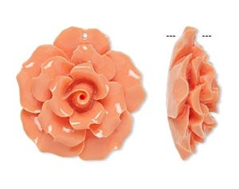 Resin Carved Bead Light Salmon Pink 35x35mm Rose Flower Pendant