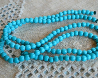 100pcs 8mm Turquoise Blue Wood Natural Beads Round Macrame Bead