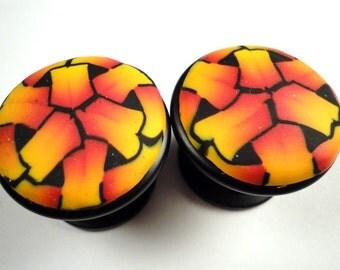 Cabinet Knobs pulls  Set of 6  Black orange yellow  Polymer Clay Decorative handmade dresser drawer knobs  Unique bathroom knobs