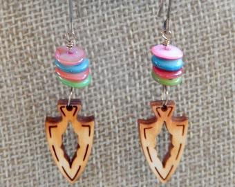 Arrowhead Earrings, Wooden Earrings, Baltic Birch, Lightweight Dangle Earrings, Pierced Earrings, Colored Jade Stones, Gift for Her