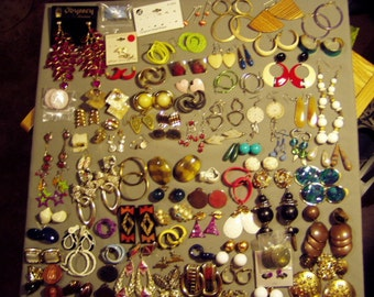 Vintage Lot 1960s to 1980s 91 Pairs of Pierced Screw Back & Clip Earrings Drop Dangle Big Bold  8466