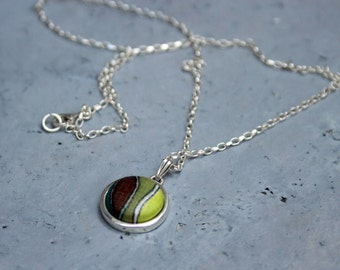 Minimal necklace, Batik necklace, Eclectic necklace, Batik jewelry, Ornament jewelry,  Drop necklace, Sterling necklace, Dainty necklace