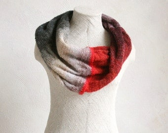Purple Finch hand blended yarn machine knit mohair silk infinity scarf shoulder warmer stole wrap