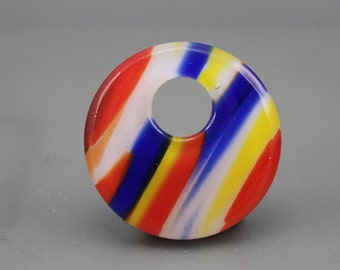 Retro  Party Stripes Fused Art Glass Focal Piece