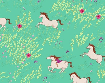 """Wee Wanderer, Flannel Fabric, """"Seafoam Summer Ride"""" by Sarah Jane Michael Miller Fabric by the Yard, Cotton Flannel Fabric, Horse Fabric"""