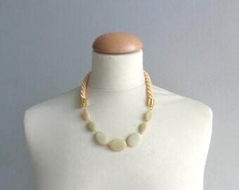 Yellow green jade gemstone rope necklace gold yellow green