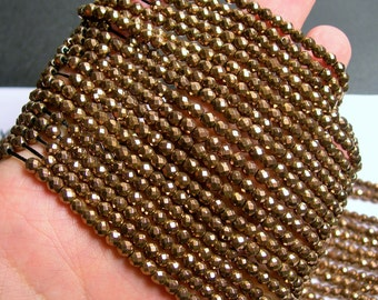 Hematite bronze - 4 mm faceted round beads - full strand - 103 beads - AA quality - PHG224