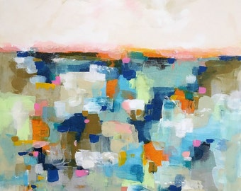 Large Colorful Abstract Cityscape/Landscape Original Painting -Mosaica Blues 36 x 48