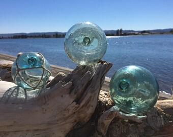 Japanese Glass Fishing Floats - Set of 3