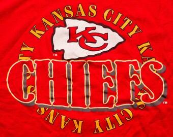 Kansas City Chiefs T-Shirt, Champion Brand Tee, Arrowhead Logo, Vintage 90s