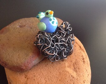 Handmade Lampwork Glass Brooch Corsage - Bird on Nest