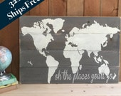 Oh the Places You'll Go - Wood World Map - Rustic Nursery Wall Art- Rustic World Map - Wooden Nursery Map - Play Room Decor