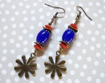 Blue and Red Patriotic Flower Earrings (2713)