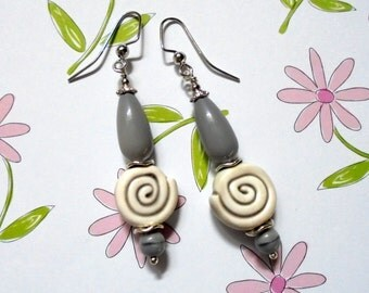 Gray Swirled Earrings (2869)
