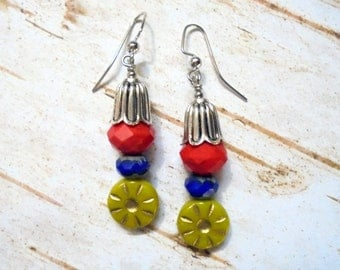 Cherry Red, Royal Blue and Chartreuse Flower Earrings (2877)