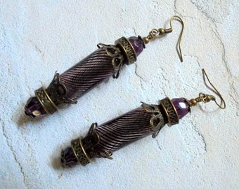 Swirled Amethyst and Brass Earrings (2930)