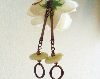 Copper and Cream Earrings (2465)