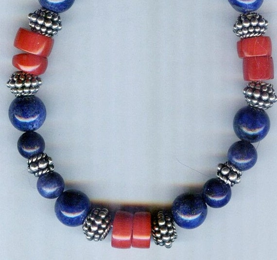 Mens / Unisex Bali Silver, Red Coral & Deep Blue Lapis Lazuli Beaded Necklace