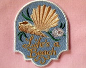"""Life's a Beach Iron on Patch 3"""" x 3.75"""""""
