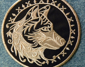 "Spirit Wolf Iron on Patch 4.5"" and 7.9"""