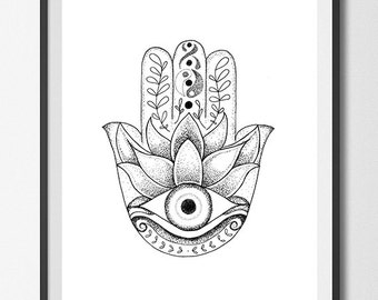Hamsa Evil Eye Drawing - Stipple Dots