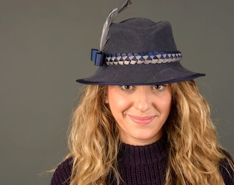 Navy Fedora with Braided band and feather accent