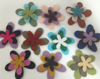 Wool Felt Blossoms Flowers 30 total - Random Colored 3420