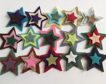 "Wool Felt Stars total 45 - Sizes 1 - 2"" Random Colored 3322"