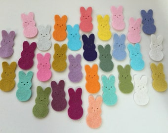 Wool Felt Die Cut Easter Bunnies 30 - 1-3/8 inch tall Random Colored. 3394