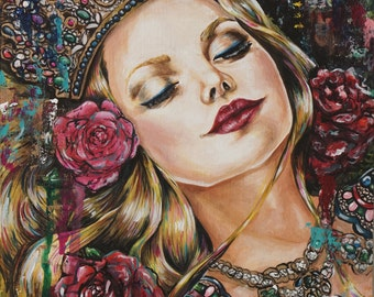 Sleeping Beauty - 11x14 Giclee Canvas Print Wall Art Gothic Fairy Tale Illustration Roses and Crown Princess Aurora