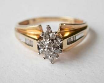 Vintage Diamond Ring, Vintage Engagement Ring, Gold Wedding Ring, 14K Gold, Marquise Setting, Diamond Baguettes, Size 7.5, Yellow Gold