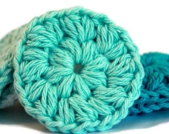 Crochet Face Scrubbies ~ Cotton Rounds in Turquoise, Aqua and White