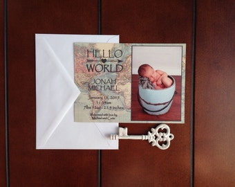 Welcome to the world baby announcement, vintage travel inspired  baby announcement, world map baby announcement