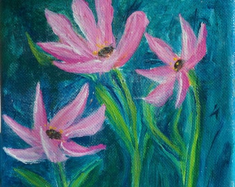 Painting, Pink Flowers on Teal, Acrylic Painting, Original Floral, 6x6x1 1/2,Art For Small Spaces