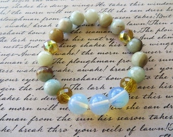 Amazonite Crystal And Moonstone Stretch Beaded Bracelet