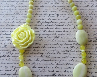Buttercream Yellow Resin Rose Lemon Jasper And Yellow Agate Beaded Necklace