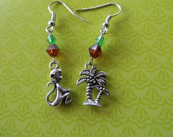 Silver Monkey and Palm Trees Charm and Crystal Earrings