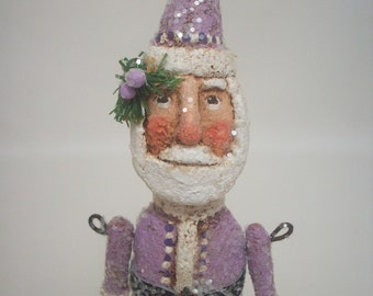 Purple Santa Primitive Paper Mache Folk Art