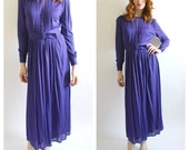 70s Louis FERAUD Purple Dress- 6/8, 38, Pleated Front Secretary Belted Classic Style, Designer Vintage, Couture, Long Sleeve Minimalist