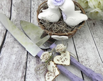 Love Birds Wedding Cake Topper in Nest with a Cake Server and Knife Set, Cream and Lavender - Bride and Groom