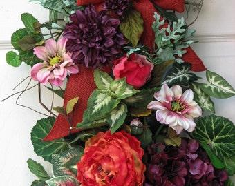 Summer Wreath – Fall Swag - Door Hanging – Summertime Swag - Door Wreath – Front Door Wreath