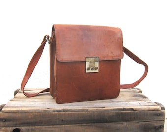 Rugged Cognac Satchel Shoulder Bag Leather w/Built in Wallet