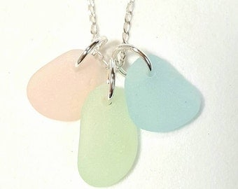 Beach Glass Necklace, Seaglass Jewelry, Sea Glass Necklace Trio Pink Seafoam Green and Bright Aqua Blue Seaglass, Beach Necklace