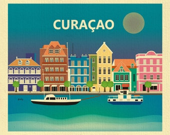 Curacao Print, Curacao Poster, Curacao Art, Caribbean Print, Curacao Skyline Print, Curacao Wedding Art, Curacao Gift - style E8-O-CUR